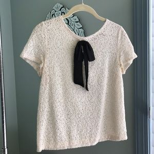 Juicy Couture Lace Tee with Black Bow Detail